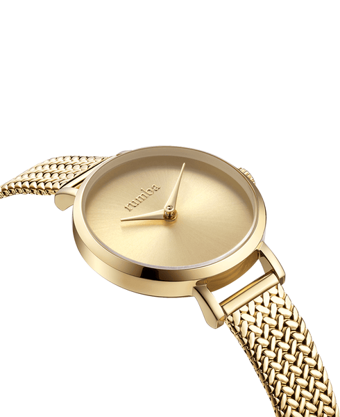 weave watch band in gold