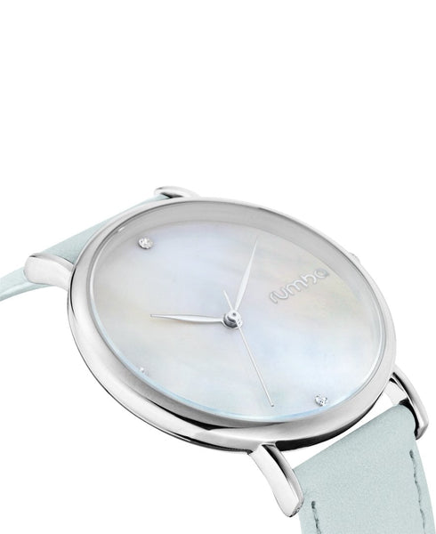 silver leather watch for women