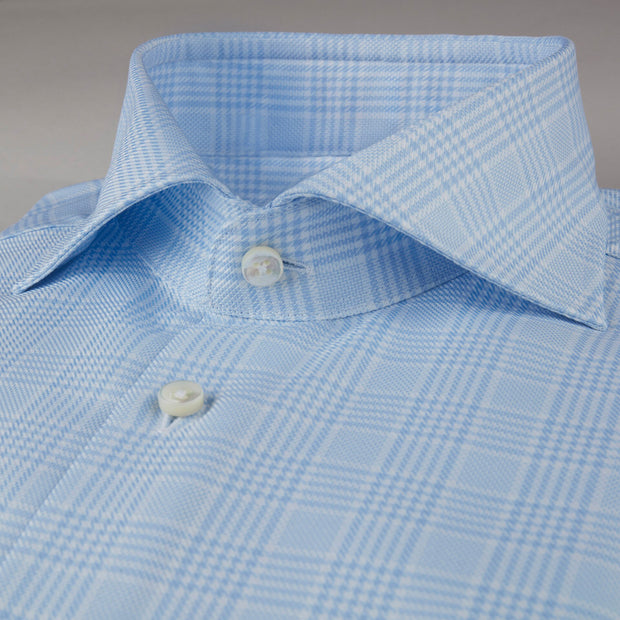 Light Blue Glen Checked Woven Shirt