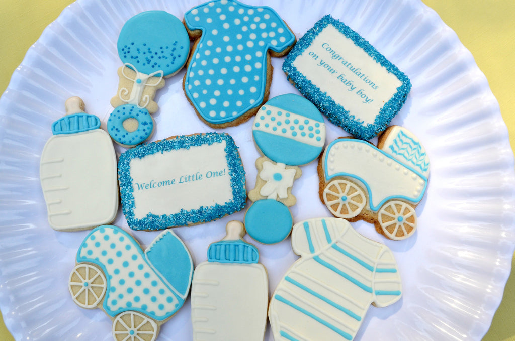 New Baby Boy Gift - Shortbread Cookies - Crumbolicious