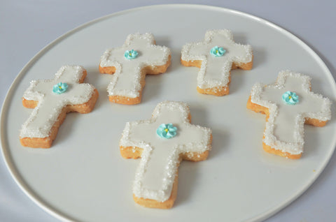 Baptism, Communion, Confirmation Cross Shortbread Cookies (Boy)