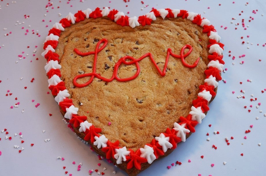 Heart Shaped Chocolate Chip Cookie Cake - Crumbolicious