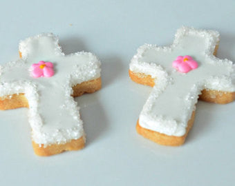 Baptism, Communion, Confirmation Cross Shortbread Cookies (Girl)