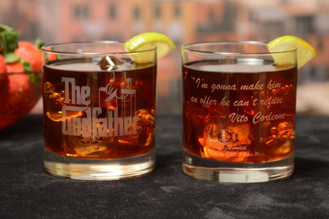 The Godfather Movie Whiskey Glasses with Quotes 2pc Set