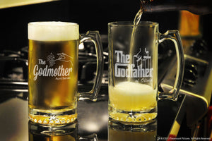 Personalized The Godfather / Godmother Glass Beer Stein Set