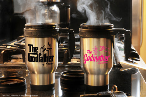 Personalized travel mugs for Godparents with the godfather movie logo and fairy godmother