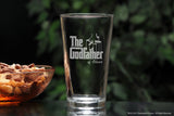 Personalized Godparent Pint Beer glass with The Godfather movie logo and fairy godmother