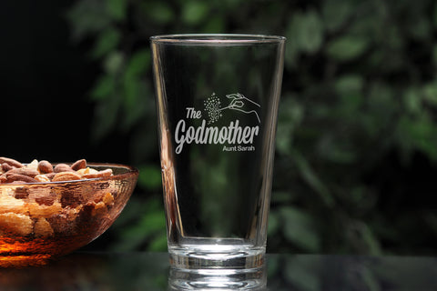 Personalized pint beer glass for godfather godmother with The Godfather Movie logo