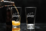 custom pint beer glass for godfather godmother with The Godfather Movie logo