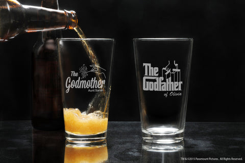 His & Hers Personalized Godparent Pint Beer Glass Set