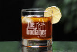 custom whiskey Glass Set for godmother godfather two stemless wine glasses with whiskey and the godfather movie logo and fairy godmother