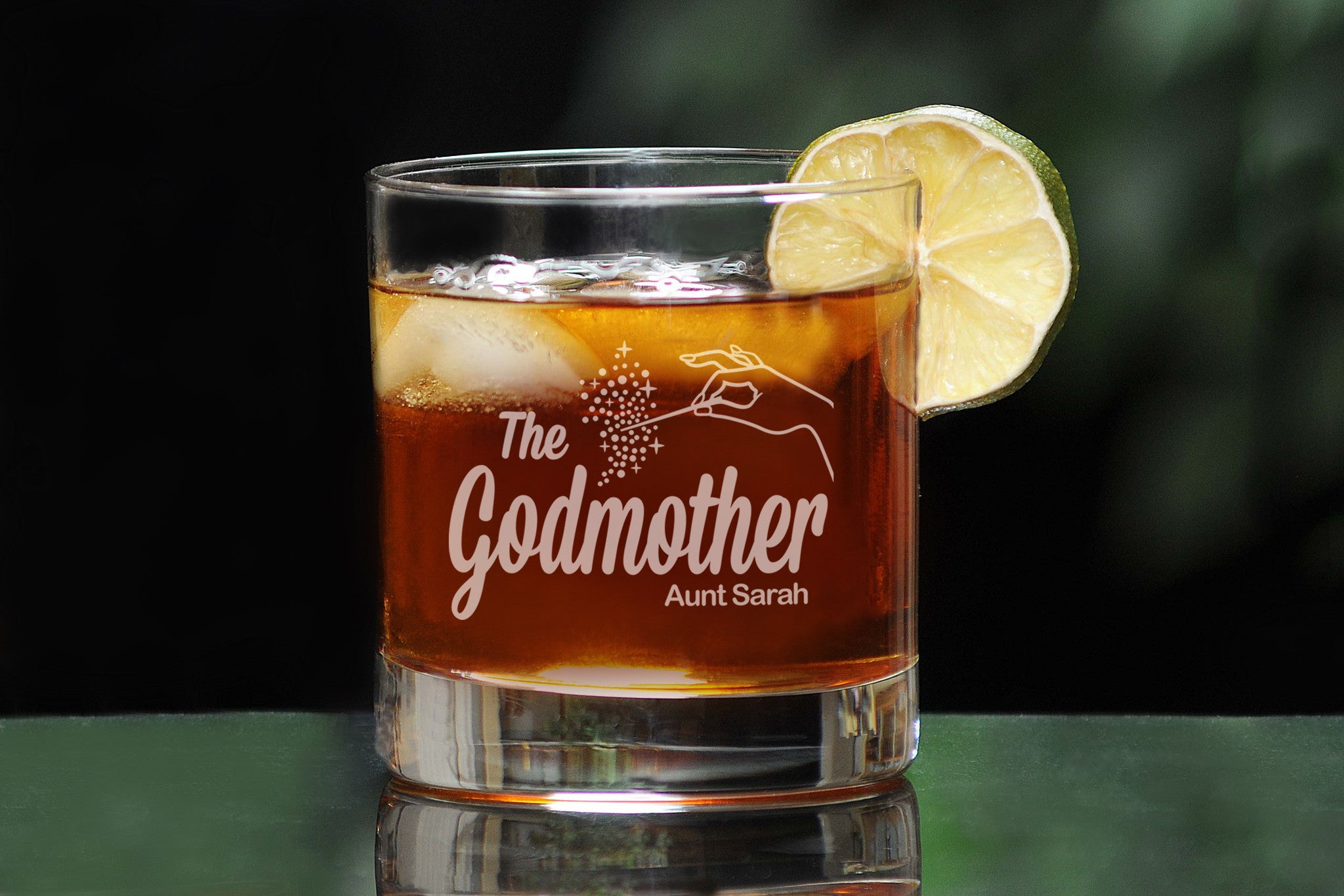 Personalized whiskey glass for godfather godmother with The Godfather Movie logo