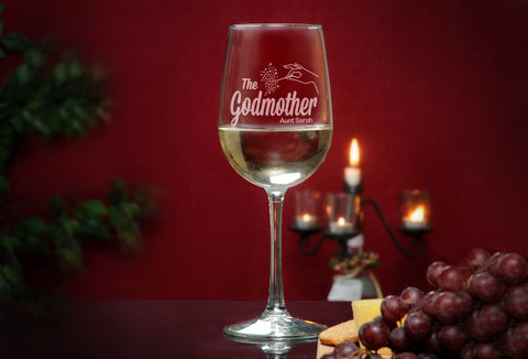Personalized tall wine glass for godfather godmother with The Godfather Movie logo
