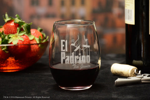 Personalized El Padrino Stemless Wine Glass for Bautizo