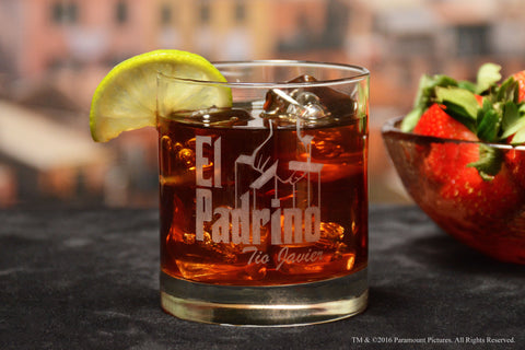 Personalized El Padrino Whiskey Rocks Glass for Bautizo