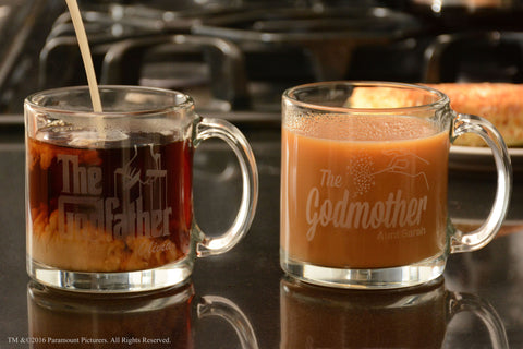 Personalized The Godfather / Godmother Glass Coffee Mug Set