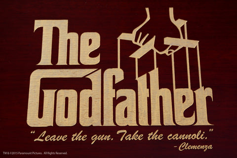 Godfather humidor The Godfather Movie logo on cigar box with movie quote leave the gun take the cannoli