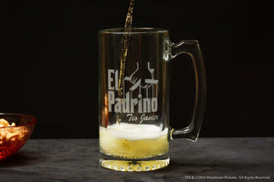 Personalized Large El Padrino Glass Beer Stein Mug