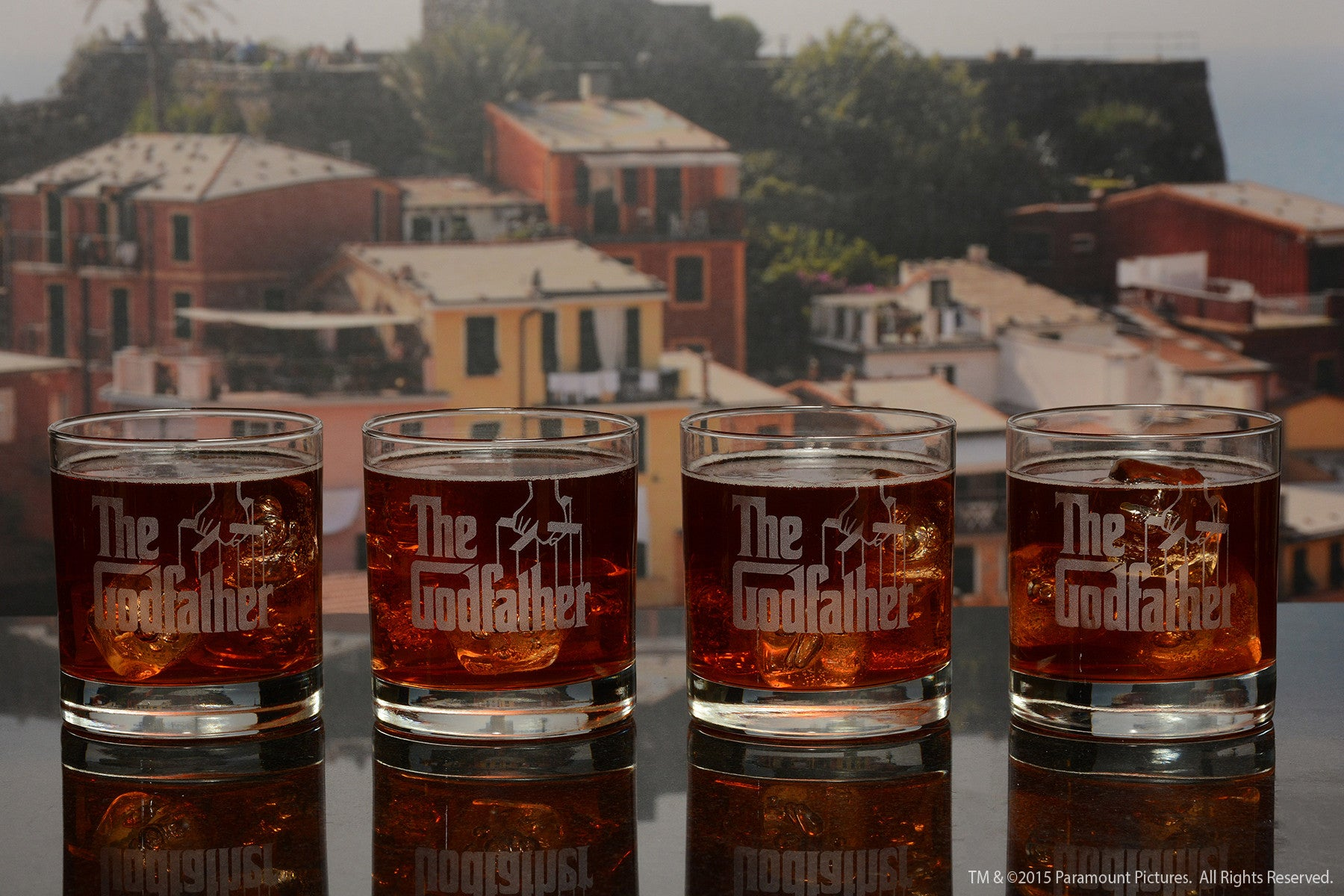 The Godfather Movie Whiskey Glasses with Quotes 4pc Set
