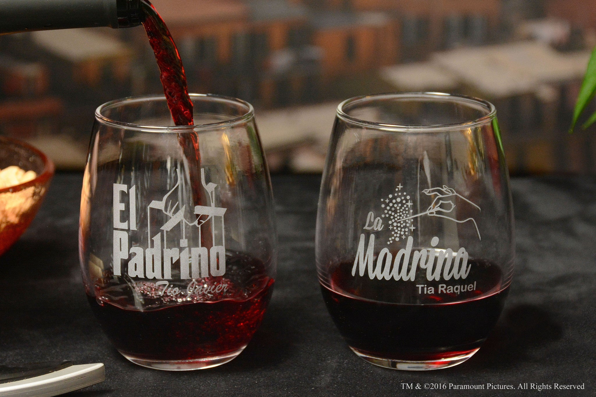 Personalized El Padrino / La Madrina Stemless Wine Glass Set for Bautizo