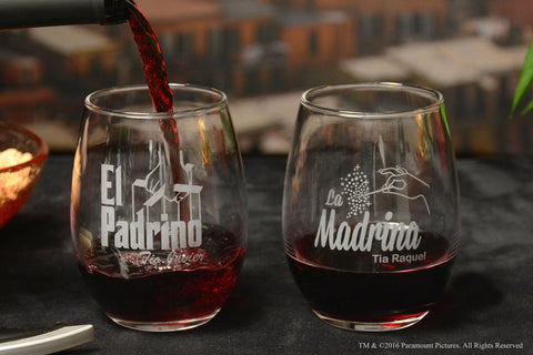 El Padrino La Madrina Stemless Wine Glass Set for Bautizo