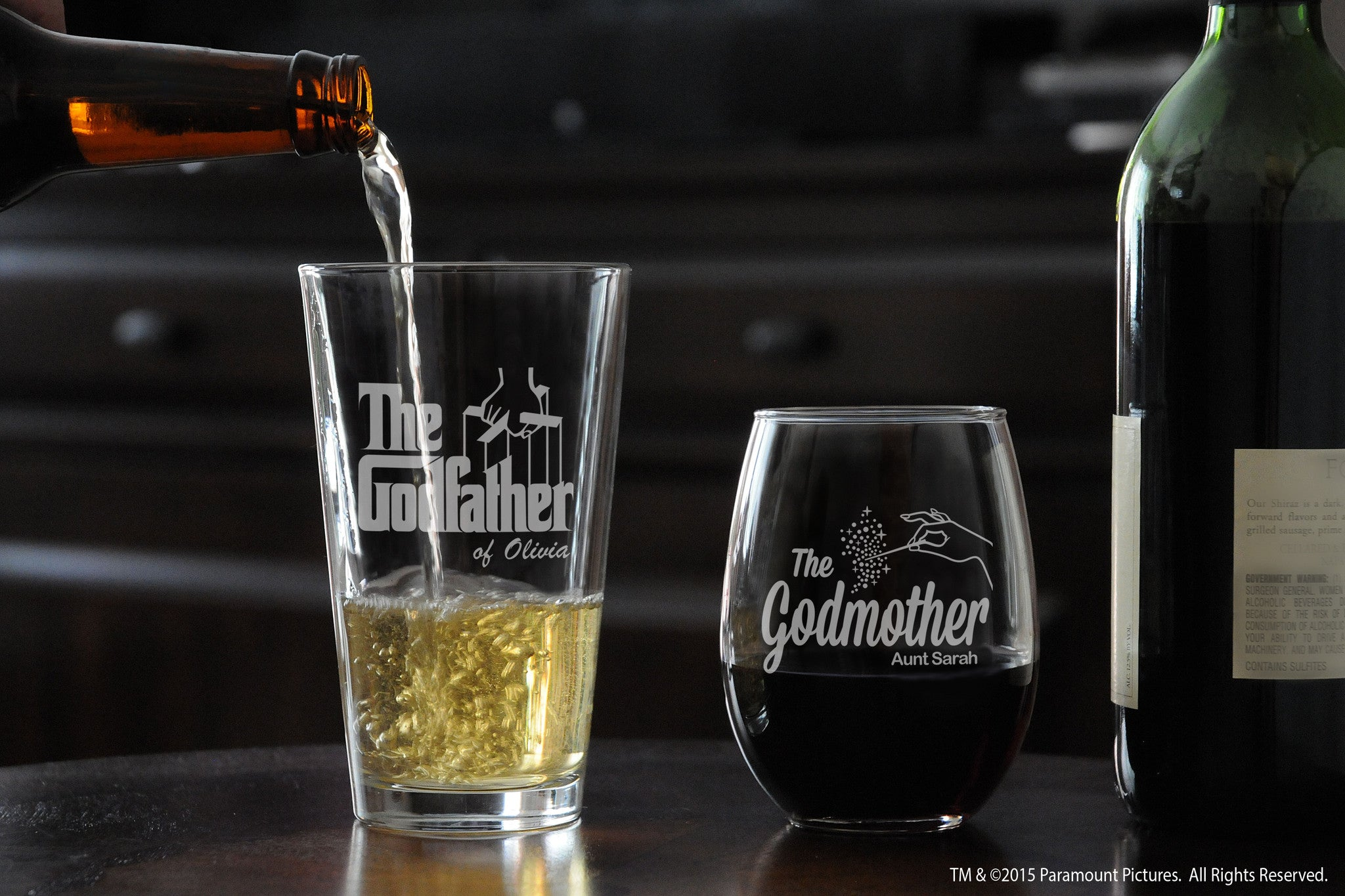 Personalized Godparent Pint Beer Glass & Stemless Wine Glass with The Godfather movie logo and fairy godmother