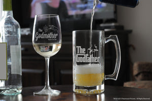 Personalized Godparent Tall Wine Glass & Large Glass Stein with the godfather movie logo and fairy godmother