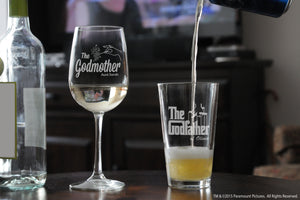 Personalized Godparent Tall Wine Glass & Pint Beer Glass with the godfather movie logo and fairy godmother