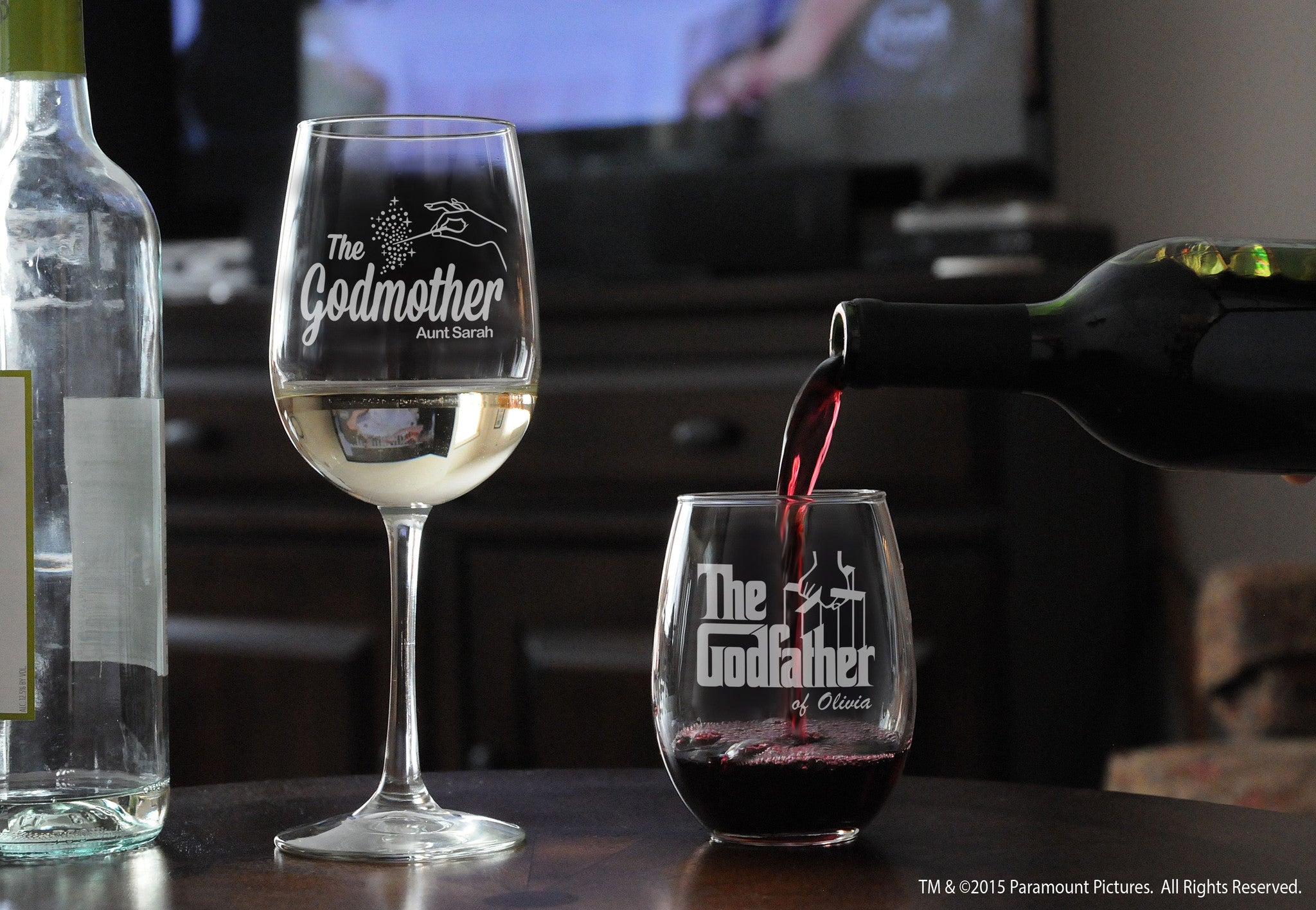 Personalized Tall Wine Glass & Stemless Wine Glass for Godparents with the godfather movie logo and fairy godmother