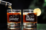 Personalized whiskey Glass Set for godmother godfather two stemless wine glasses with whiskey and the godfather movie logo and fairy godmother