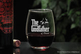 custom Wine Glass for Godparents with the godfather movie logo and fairy godmother