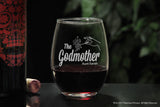 Personalized stemless wine glass for godfather godmother with The Godfather Movie logo