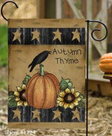 AUTUMN TYME PUMPKIN AND CROW - GARDEN FLAG