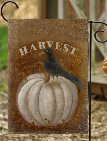 HARVEST WHITE PUMPKIN BLACK CROW - GARDEN FLAG