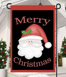 MERRY CHRISTMAS SANTA PLAIN - GARDEN FLAG