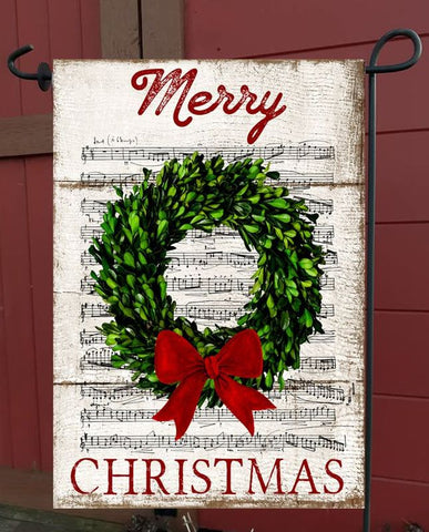 MERRY CHRISTMAS WREATH ON MUSIC - GARDEN FLAG