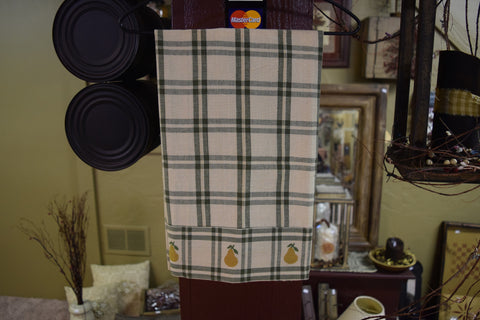 Green Plaid with Pears Hand Towel