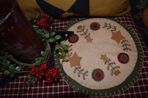 "9"" Round Table Mat W/ Trees and Stars"