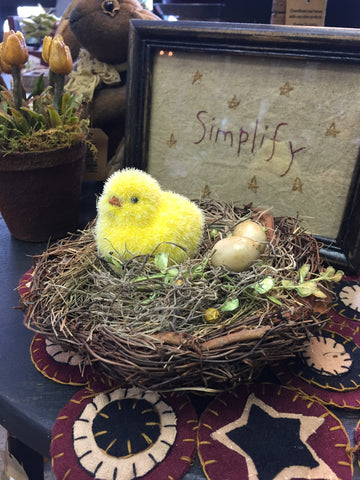 Yellow Fuzzy Chick In Nest w/ Eggs