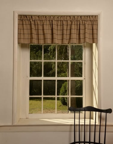 Pine Creek Traditions Tan and Black Check Valance