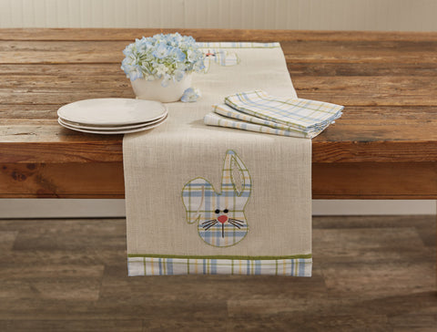 Bunny Head Applique Jute Table Runner