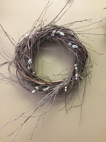 "Round 9"" Pussy Willow Wreath"