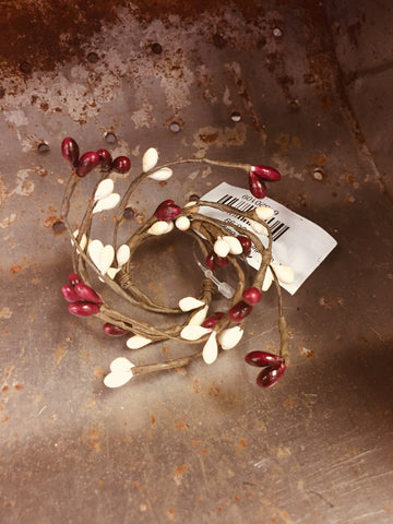 "1"" Candle Ring Burgundy and White"