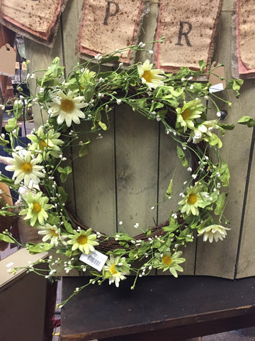 Grapevine Wreath w/ Yellow & Chartreuse Daisy Flowers and Pip Berries