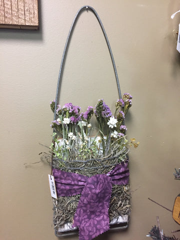 Wood & Wire Hanging Wall Pocket w/ Dried Flowers