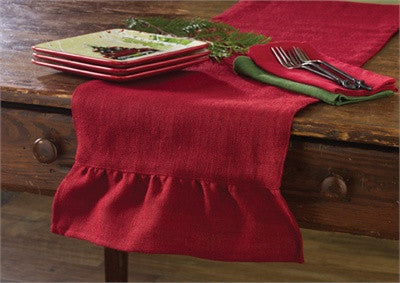 Jute Burlap Table Runner 14x42 Red