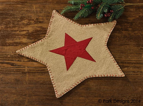 Burlap Star Accent Mat Red