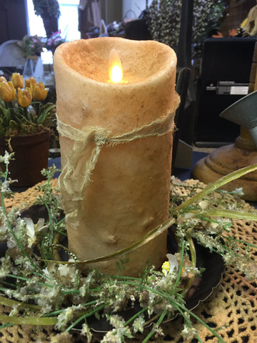 Moving Flame Grungy Dipped Candle W/ Cheesecloth Ribbon Burnt Ivory