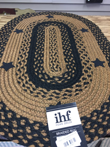 Black Star Braided Rug Oval 27 x 48
