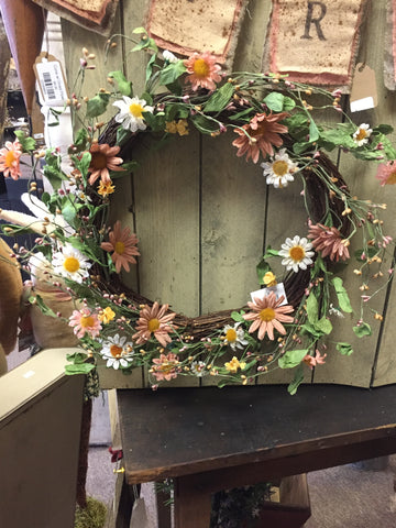 Grapevine Wreath w/ Peach & White Daisy Flowers & Little Yellow Flowers and Pip Berries